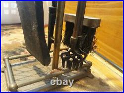 Vintage Fireplace Tool Set Heavy Duty Brass Duck Heads 4 Tools Nice