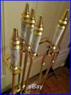 Vintage Fireplace White & Gray Marble Ornate & Brass 5 Piece Metalware Tool Set