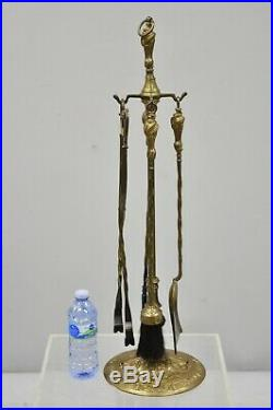 Vintage French Louis XV Victorian Style Brass Fireplace Mantel Tool Set