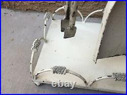 Vintage HEAVY Cast Iron White Cottage Cabin Rustic Shabby Fireplace Tool SET
