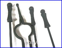 Vintage Hand Wrought Iron Hammered Gothic Fireplace Fire Place Tools Set