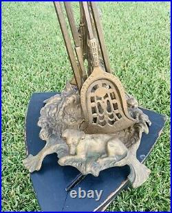 Vintage Handmade Brass Fireplace Tool Set Hunting Motif