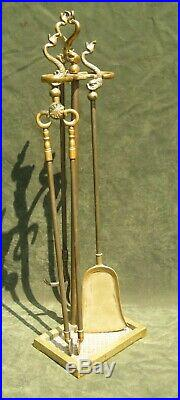 Vintage Harvin Brass Fireplace Tool Set Dolphin Virginia Metalcrafters