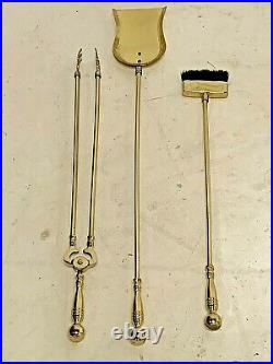 Vintage Heavy Brass Fireplace Tool Set Ornate Stand With 3 Tools