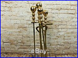 Vintage Heavy Brass Fireplace Tool Set Ornate Stand With 4 Tools
