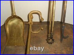 Vintage Heavy Brass Fireplace Tool Set, Stand & Wood Cradle