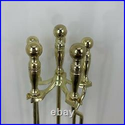 Vintage Heavy Duty Gold Metal Fireplace Tool Set 4 Pieces 32 Tall
