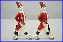 Vintage Hessian Soldier Fireplace Tool Set and Pair of Andirons Red White & Blue