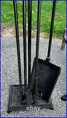Vintage Hessian Soldiers Cast Iron Andirons & Fireplace Tool Set 1960s