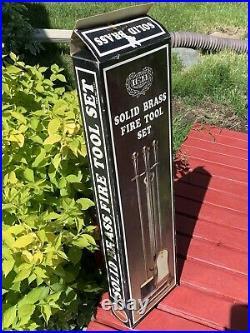 Vintage IEM Intl Express MFG Solid Brass Fire Tool Set 5pc NEW OLD STOCK HTF F/S