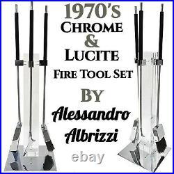 Vintage MCM Alessandro Albrizzi Chrome Lucite Fireplace Tool Set Retro 1970s