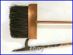 Vintage MCM Danish Modern Wood & Copper Fireplace Tool Poker Set Eames Era