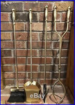 Vintage MCM Mid Century Modern Retro Brass & Iron Fireplace Tools Set & Stand