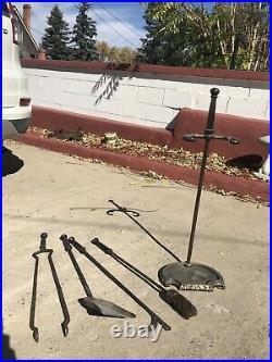 Vintage MCM Peerless Fireplace Tools Set #867 Stand And 4 Tools Hammered