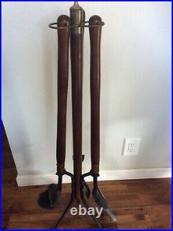 Vintage MCM Style Vintage Fireplace Tool Set Broom, Shovel, Poker & Stand