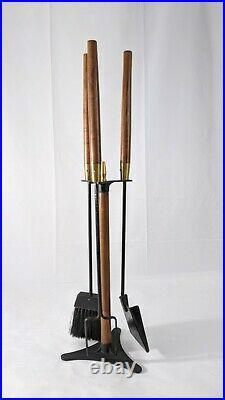 Vintage MCM wood fireplace tool set Seymour Danish Modern Mid Century 31