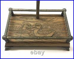 Vintage Mallard Duck Head Brass Fireplace Tool Set Painted Wood Carved Base