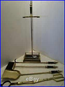 Vintage Metal 5 pc Fireplace Tool Set stand Black marble Handles & base 1970's