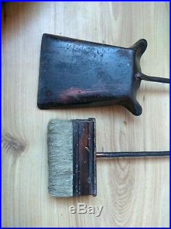 Vintage Metal Fire Place Tools Heavy Duty Iron Holder for Log Toolset Tongs