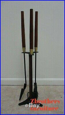 Vintage Mid Century Art Deco Fireplace Brass Tools Set Seymour MCM