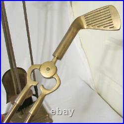 Vintage Mid-Century Brass 4 Piece Golf Club Fireplace Tool Set on Stand