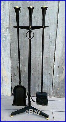Vintage Mid-Century Modern Donald Deskey Iron & Brass Set of Fireplace Tools 50s