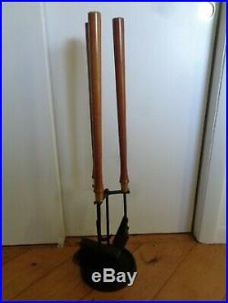 Vintage Mid Century Modern Fireplace Tools Set Iron Wood Brass Seymour