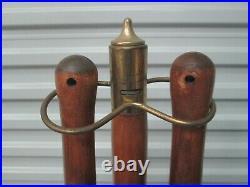 Vintage Mid Century Modern Long Wood Handles & Iron Fireplace 4pc Tool Set