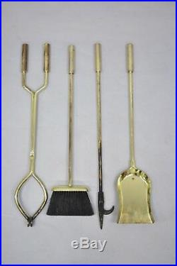 Vintage Mid Century Modern Modernist Brass Fireplace Tool Set Mantle Accessories