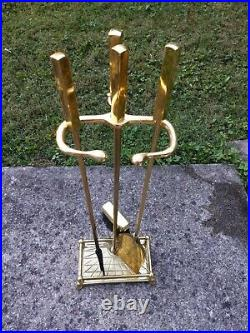 Vintage Mid Century Modern Modernist Brass Fireplace Tool Set Must SEE QUALITY