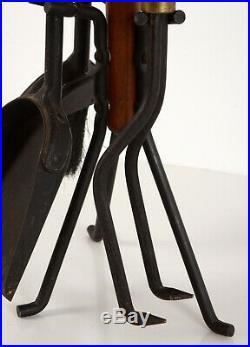 Vintage Mid Century Modern Seymour Walnut & Iron Fireplace Tools Set
