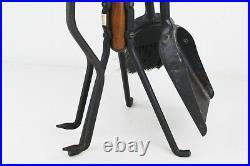 Vintage Mid Century Modern Seymour Walnut & Iron Fireplace Tools Set, 33 H