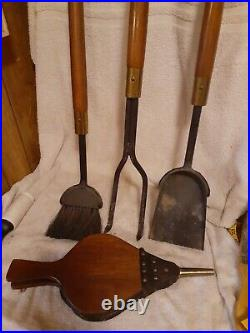 Vintage Mid Century Modern Seymour Walnut & Iron Fireplace Tools Set (No Stand)