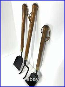 Vintage Mid Century Modern Seymour Wooden Handle & Iron Fireplace Tools Set