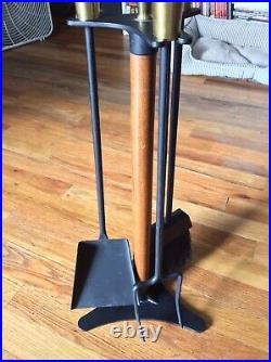 Vintage Mid Century Modern Seymour Wooden Handle & Iron Fireplace Tools Set USA