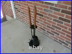 Vintage Mid Century Modern Seymour Wooden Handle & Iron4 Pc Fireplace Tool Set