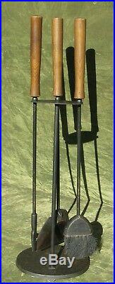 Vintage Mid Century Modern Wood Iron Fireplace Tool Set 3pc Stand