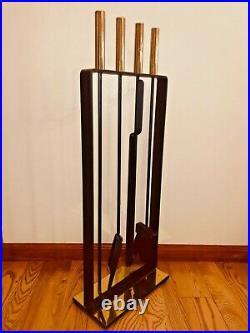 Vintage Mid Century Pilgrim Cast Iron Brass Minimalist Fireplace Tool Set Stand
