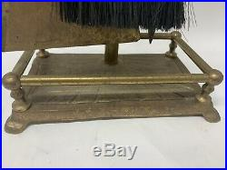Vintage Mid Century SOLID Brass DUCK HEAD Fireplace Tool Set Stand + FIVE TOOLS
