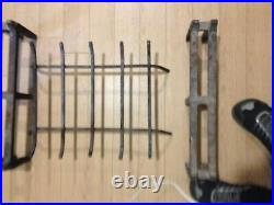 Vintage Midcentury Modern Brass complete Fireplace Screen, Andiron, and tool set