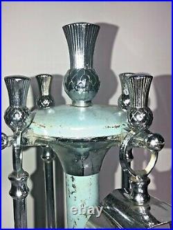 Vintage Mini Small Fireplace Tool Set 4 Piece Set Art Deco Uncommon See Pics