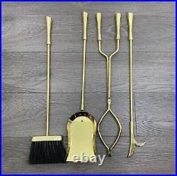 Vintage Modern Brass Gold Fireplace Tool Set 4 Pieces 31Tall