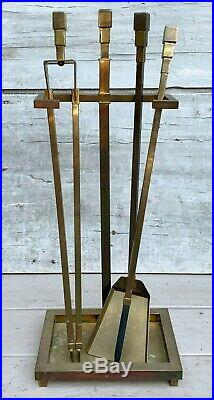 Vintage Modernist Art Deco Style Brass Fireplace Andirons and Tool Set c. 1960