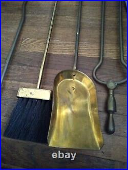 Vintage Nelson Hearth Kit Brass FIREPLACE TOOL SET in Heavy slotted base