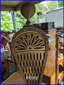 Vintage Ornate Brass Peacock Fireplace Screen & tools set