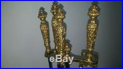 Vintage Ornate Heavy Brass Iron Fireplace Tool Set Stand With 4 Tools