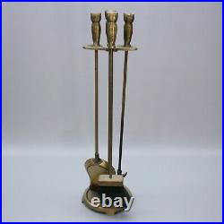 Vintage Owls Fireplace Poker Shovel Brush Broom Base Brass Plated Tools Set Hoot