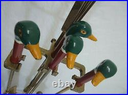 Vintage Painted Mallard Duck Head Brass Fireplace 4 Tools with Base 5 pc Set