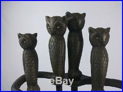 Vintage Rostand owl fireplace tool set brass eyes claw feet hammered copper base