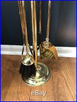 Vintage SOLID BRASS FIREPLACE POKER SET Fire Tool Brush Shovel High Quality 32